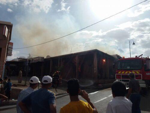 حريق بأحد المتاجر وسط مدينة تافراوت يتسبب في خسائر مادية كبيرة / صور